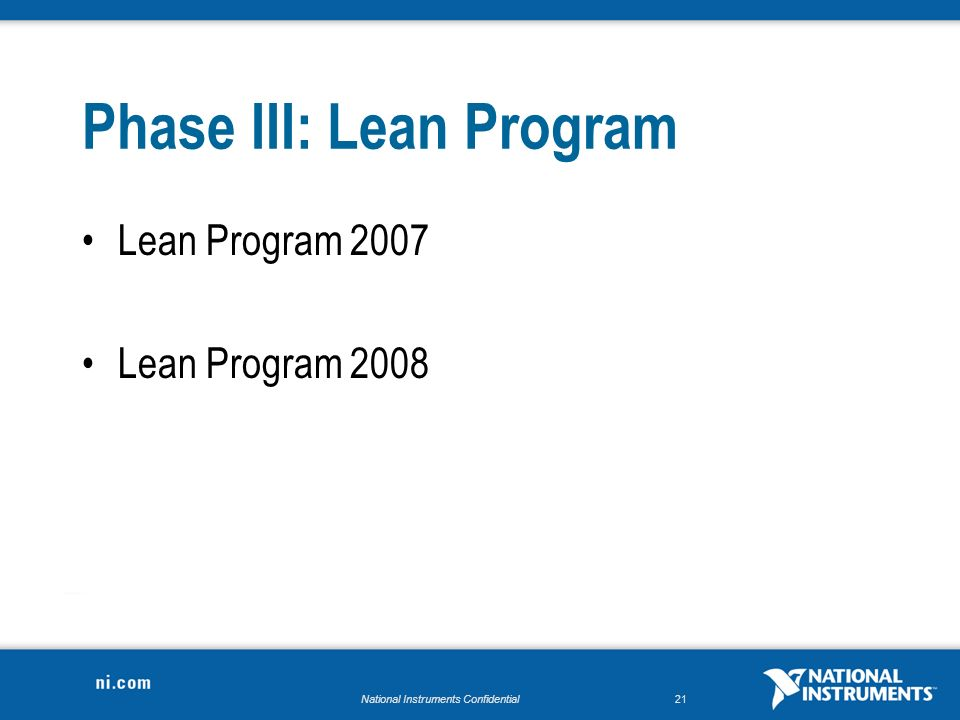 National Instruments Confidential21 Phase III: Lean Program Lean Program 2007 Lean Program 2008