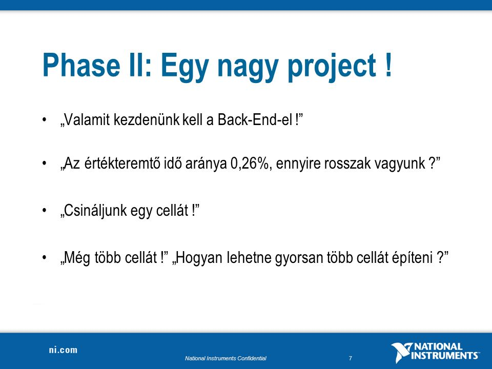 National Instruments Confidential7 Phase II: Egy nagy project .