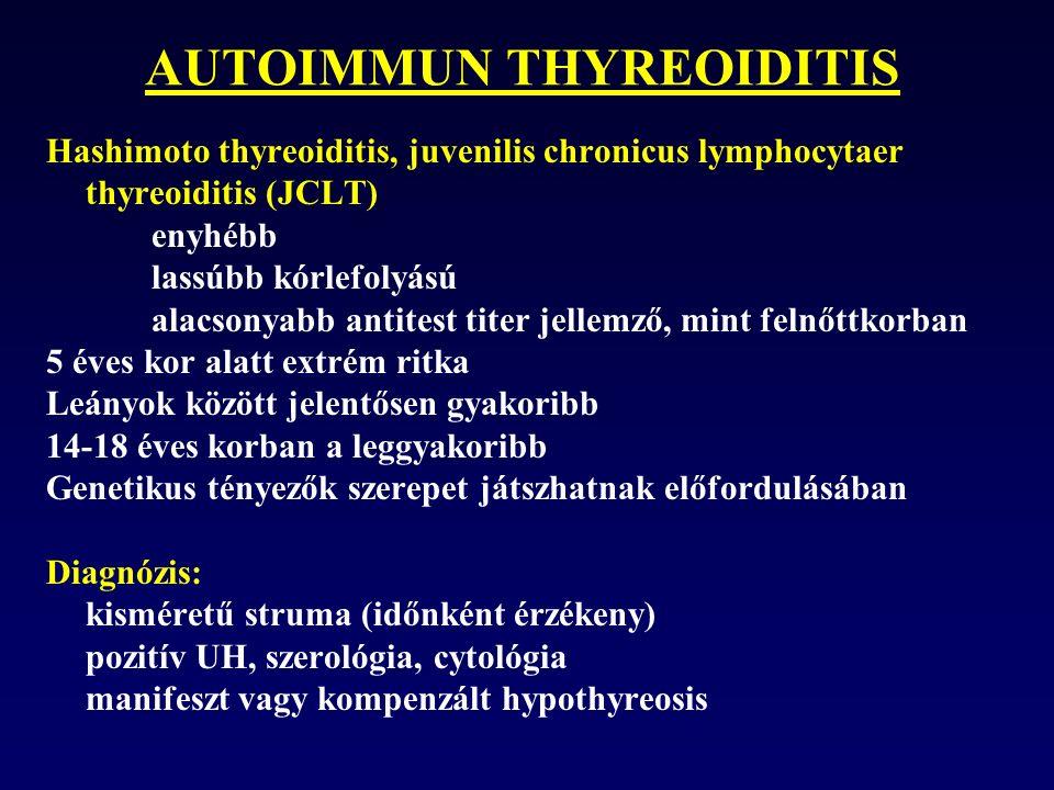 AUTOIMMUN THYREOIDITIS Hashimoto thyreoiditis, juvenilis chronicus lymphocytaer thyreoiditis (JCLT) enyhébb lassúbb kórlefolyású alacsonyabb antitest titer jellemző, mint felnőttkorban 5 éves kor alatt extrém ritka Leányok között jelentősen gyakoribb 14-18 éves korban a leggyakoribb Genetikus tényezők szerepet játszhatnak előfordulásában Diagnózis: kisméretű struma (időnként érzékeny) pozitív UH, szerológia, cytológia manifeszt vagy kompenzált hypothyreosis