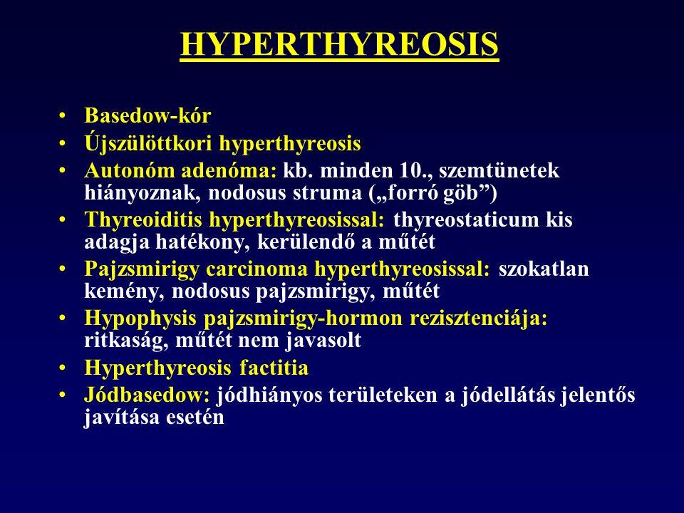HYPERTHYREOSIS Basedow-kór Újszülöttkori hyperthyreosis Autonóm adenóma: kb.