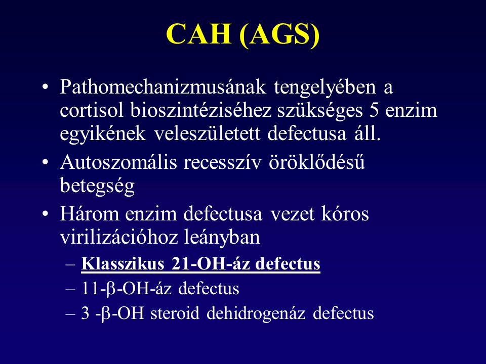 CAH (AGS) Pathomechanizmusának tengelyében a cortisol bioszintéziséhez szükséges 5 enzim egyikének veleszületett defectusa áll.