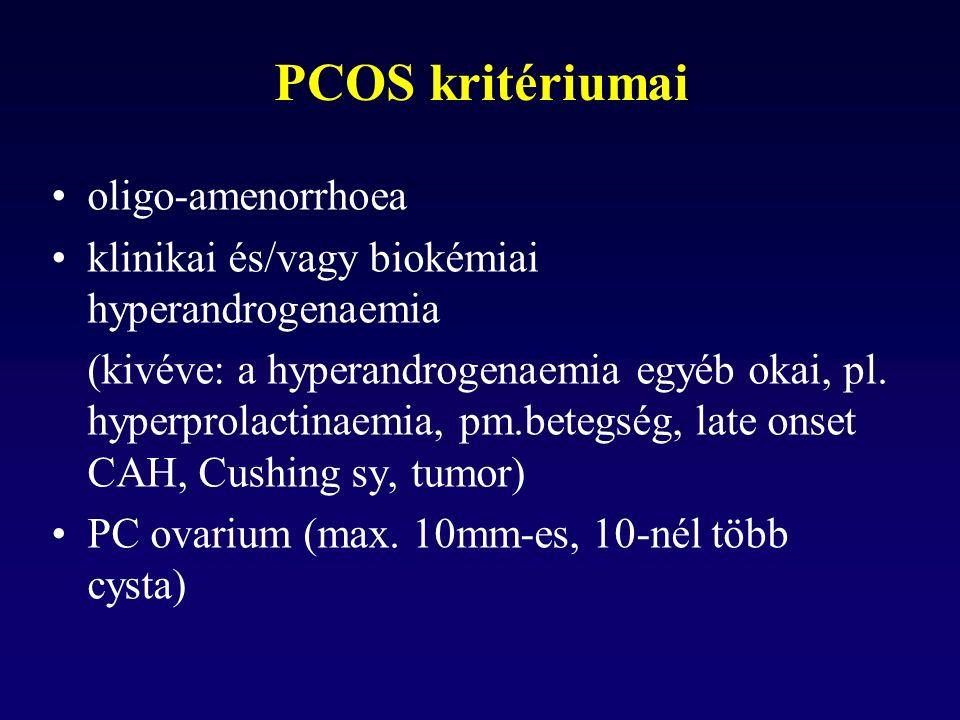 PCOS kritériumai oligo-amenorrhoea klinikai és/vagy biokémiai hyperandrogenaemia (kivéve: a hyperandrogenaemia egyéb okai, pl.