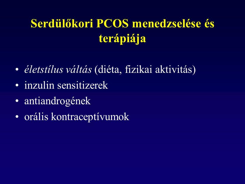 Serdülőkori PCOS menedzselése és terápiája életstílus váltás (diéta, fizikai aktivitás) inzulin sensitizerek antiandrogének orális kontraceptívumok