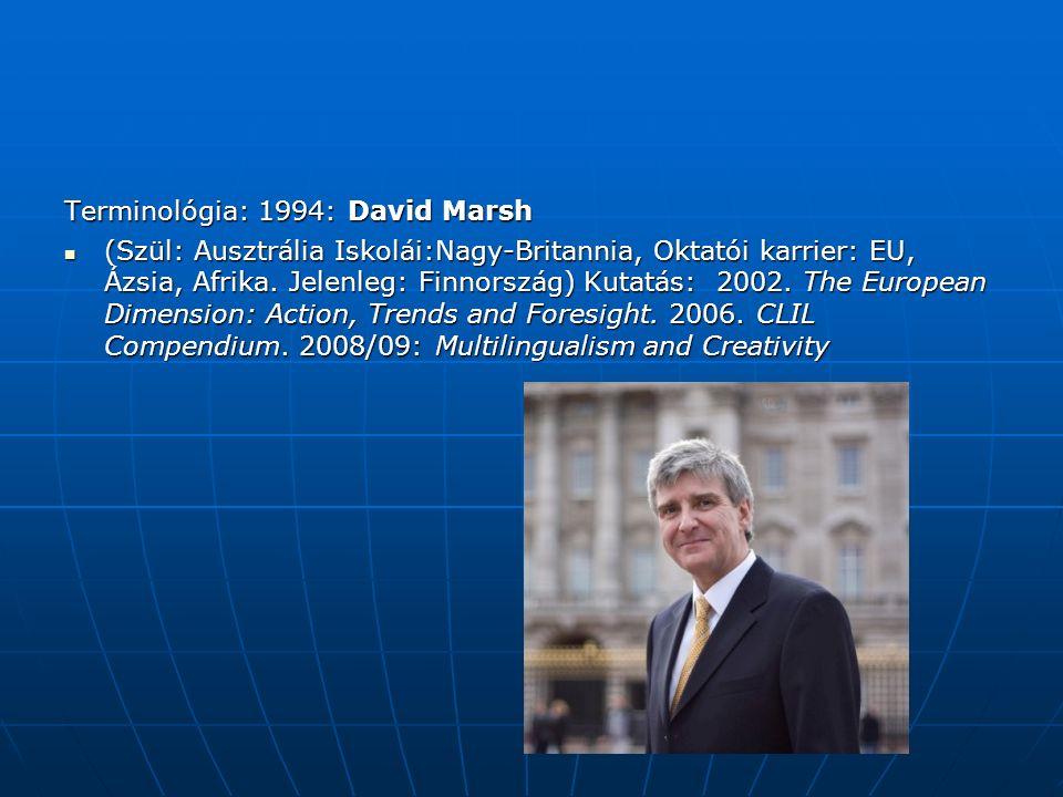 Terminológia: 1994: David Marsh (Szül: Ausztrália Iskolái:Nagy-Britannia, Oktatói karrier: EU, Ázsia, Afrika.