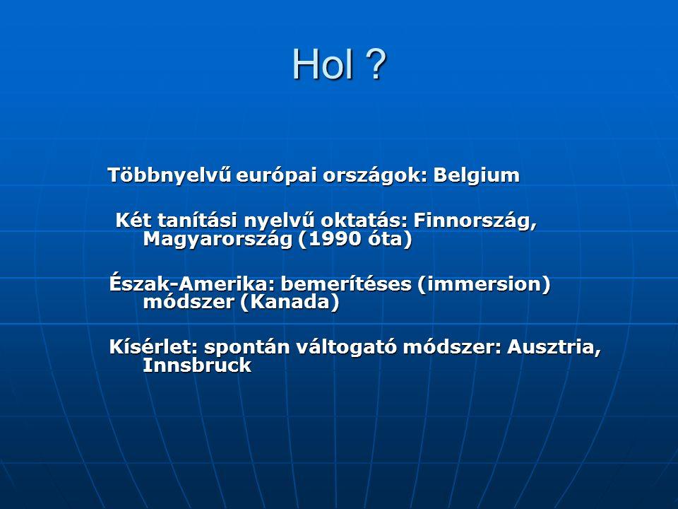 Hol ? Többnyelvű európai országok: Belgium Többnyelvű európai országok: Belgium Két tanítási nyelvű oktatás: Finnország, Magyarország (1990 óta) Két t