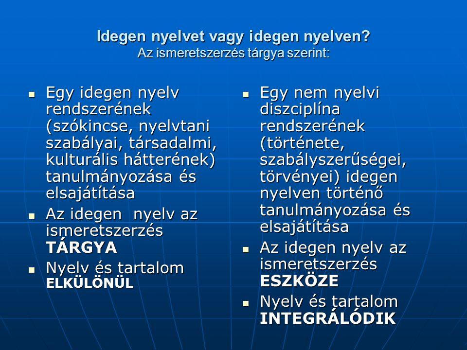 Idegen nyelvet vagy idegen nyelven? Az ismeretszerzés tárgya szerint: Egy idegen nyelv rendszerének (szókincse, nyelvtani szabályai, társadalmi, kultu