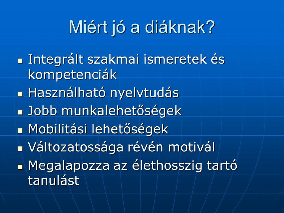 Miért jó a diáknak? Integrált szakmai ismeretek és kompetenciák Integrált szakmai ismeretek és kompetenciák Használható nyelvtudás Használható nyelvtu