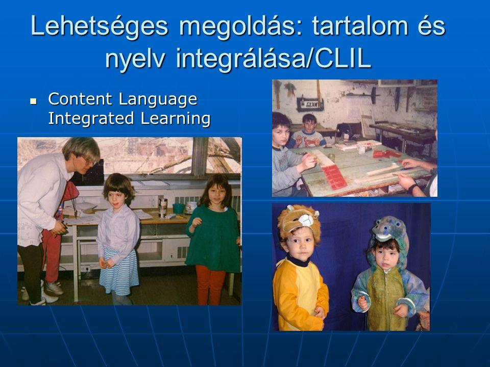Lehetséges megoldás: tartalom és nyelv integrálása/CLIL Content Language Integrated Learning Content Language Integrated Learning
