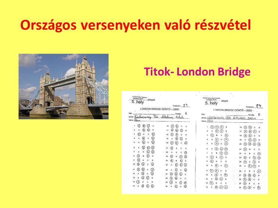 Országos versenyeken való részvétel Titok- London Bridge