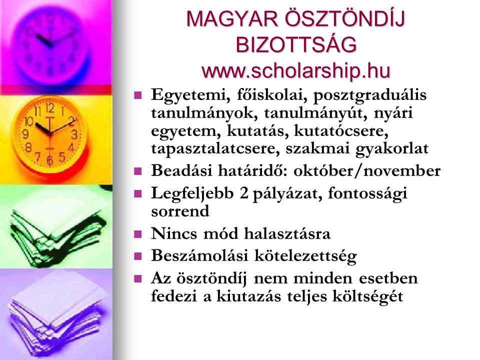 MAGYAR ÖSZTÖNDÍJ BIZOTTSÁG www.scholarship.hu Egyetemi, főiskolai, posztgraduális tanulmányok, tanulmányút, nyári egyetem, kutatás, kutatócsere, tapasztalatcsere, szakmai gyakorlat Beadási határidő: október/november Legfeljebb 2 pályázat, fontossági sorrend Nincs mód halasztásra Beszámolási kötelezettség Az ösztöndíj nem minden esetben fedezi a kiutazás teljes költségét