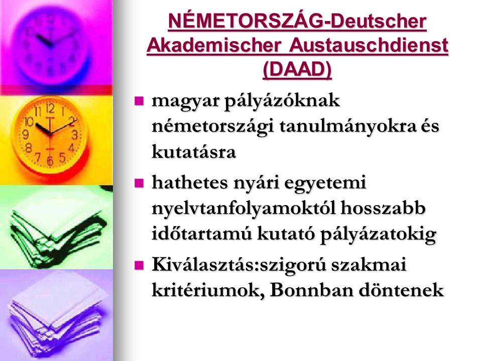 NÉMETORSZÁG-Deutscher Akademischer Austauschdienst (DAAD) magyar pályázóknak németországi tanulmányokra és kutatásra magyar pályázóknak németországi t