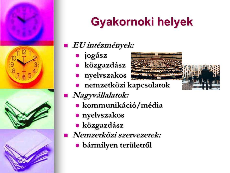 Gyakornoki helyek EU intézmények: EU intézmények: jogász jogász közgazdász közgazdász nyelvszakos nyelvszakos nemzetközi kapcsolatok nemzetközi kapcsolatok Nagyvállalatok: Nagyvállalatok: kommunikáció/média kommunikáció/média nyelvszakos nyelvszakos közgazdász közgazdász Nemzetközi szervezetek: Nemzetközi szervezetek: bármilyen területről bármilyen területről