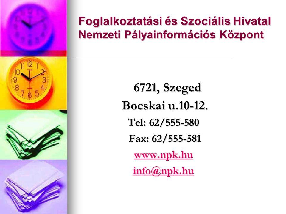 Foglalkoztatási és Szociális Hivatal Nemzeti Pályainformációs Központ 6721, Szeged 6721, Szeged Bocskai u.10-12. Bocskai u.10-12. Tel: 62/555-580 Tel: