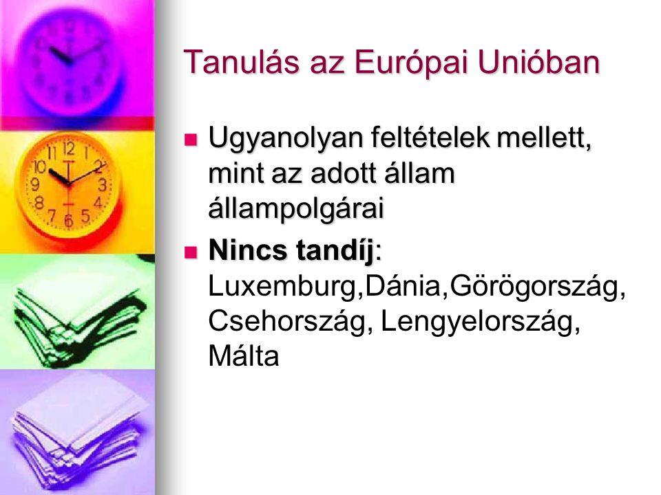 Tanulás az Európai Unióban Ugyanolyan feltételek mellett, mint az adott állam állampolgárai Ugyanolyan feltételek mellett, mint az adott állam állampolgárai Nincs tandíj: Nincs tandíj: Luxemburg,Dánia,Görögország, Csehország, Lengyelország, Málta