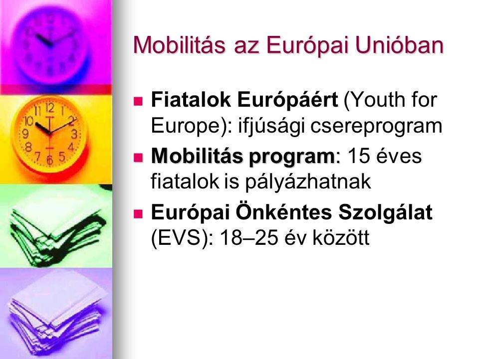 Mobilitás az Európai Unióban Fiatalok Európáért (Youth for Europe): ifjúsági csereprogram Mobilitás program: Mobilitás program: 15 éves fiatalok is pályázhatnak Európai Önkéntes Szolgálat (EVS): 18–25 év között