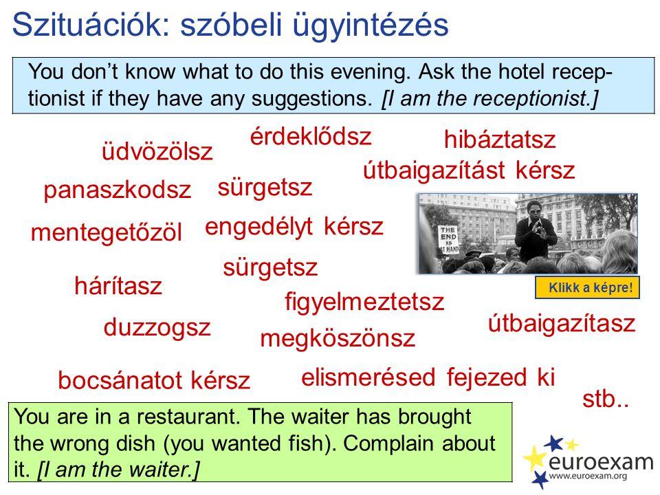 Szituációk: szóbeli ügyintézés üdvözölsz panaszkodsz elismerésed fejezed ki mentegetőzöl érdeklődsz megköszönsz engedélyt kérsz hárítasz hibáztatsz stb..