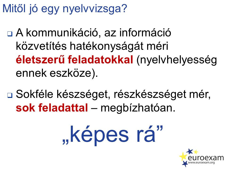  A kommunikáció, az információ közvetítés hatékonyságát méri életszerű feladatokkal (nyelvhelyesség ennek eszköze).  Sokféle készséget, részkészsége