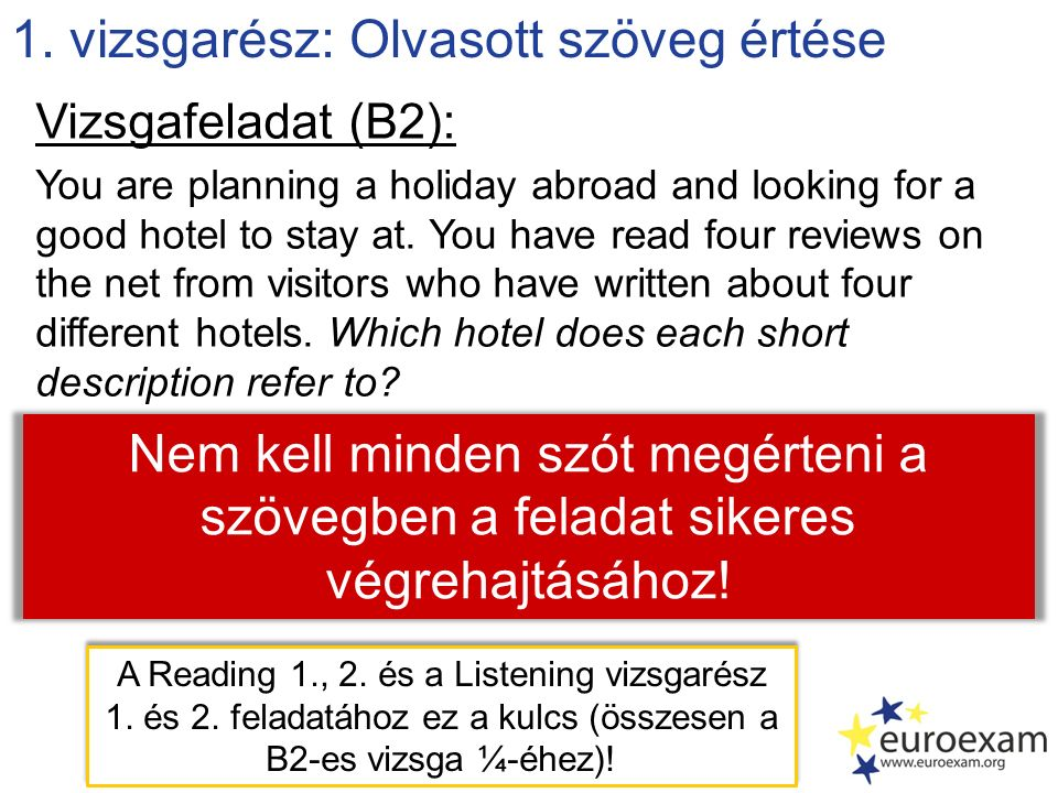 1. vizsgarész: Olvasott szöveg értése Vizsgafeladat (B2): You are planning a holiday abroad and looking for a good hotel to stay at. You have read fou
