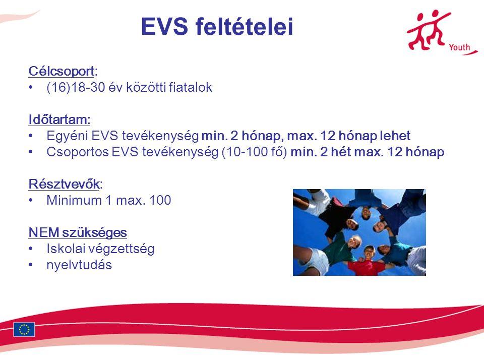EVS feltételei Célcsoport: (16)18-30 év közötti fiatalok Időtartam: Egyéni EVS tevékenység min.