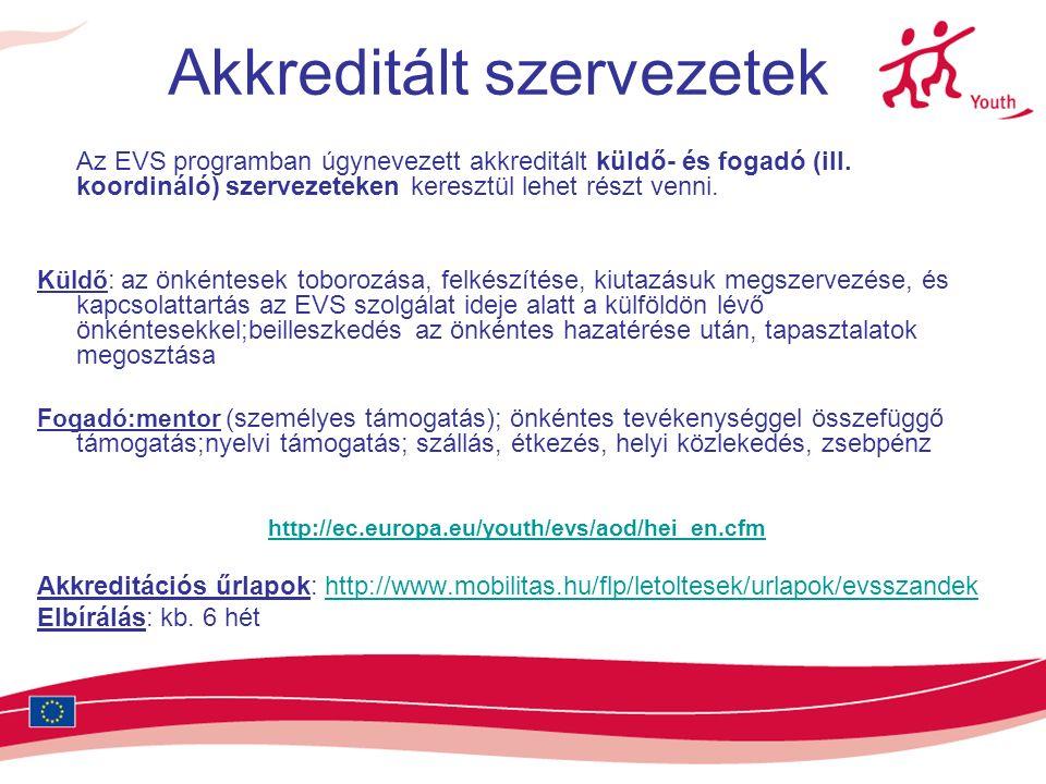 Akkreditált szervezetek Az EVS programban úgynevezett akkreditált küldő- és fogadó (ill.