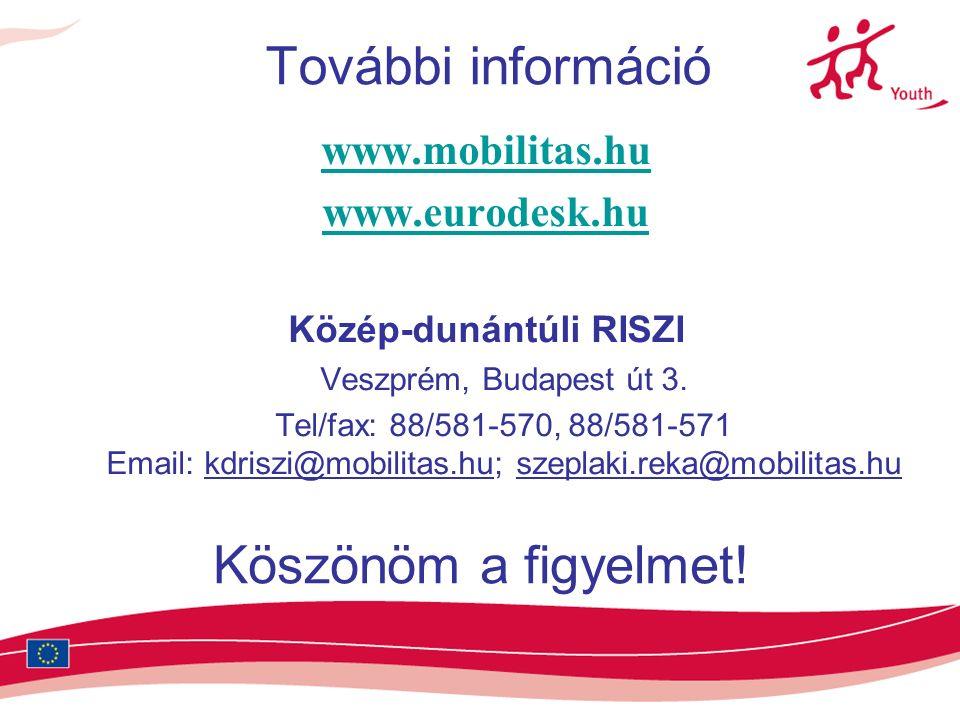 További információ www.mobilitas.hu www.eurodesk.hu Közép-dunántúli RISZI Veszprém, Budapest út 3.