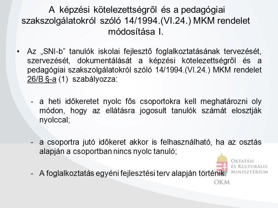 """A képzési kötelezettségről és a pedagógiai szakszolgálatokról szóló 14/1994.(VI.24.) MKM rendelet módosítása I. Az """"SNI-b"""" tanulók iskolai fejlesztő f"""