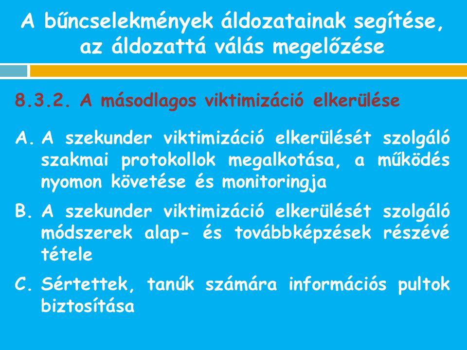 8.3.2. A másodlagos viktimizáció elkerülése A.A szekunder viktimizáció elkerülését szolgáló szakmai protokollok megalkotása, a működés nyomon követése
