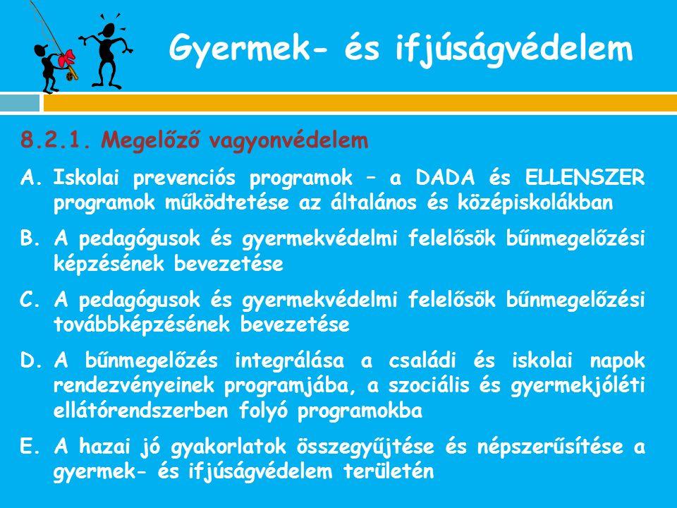 8.2.1. Megelőző vagyonvédelem A.Iskolai prevenciós programok – a DADA és ELLENSZER programok működtetése az általános és középiskolákban B.A pedagógus
