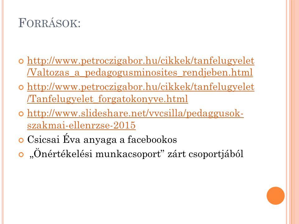 """F ORRÁSOK : http://www.petroczigabor.hu/cikkek/tanfelugyelet /Valtozas_a_pedagogusminosites_rendjeben.html http://www.petroczigabor.hu/cikkek/tanfelugyelet /Tanfelugyelet_forgatokonyve.html http://www.slideshare.net/vvcsilla/pedaggusok- szakmai-ellenrzse-2015 Csicsai Éva anyaga a facebookos """"Önértékelési munkacsoport zárt csoportjából"""