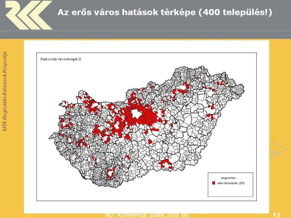 MTA Regionális Kutatások Központja MUT Konferencia, Siófok, 2009. okt. 13 Az erős város hatások térképe (400 település!)