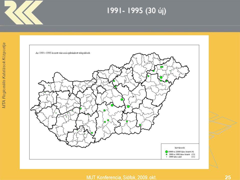 MTA Regionális Kutatások Központja MUT Konferencia, Siófok, 2009. okt. 25 1991- 1995 (30 új)