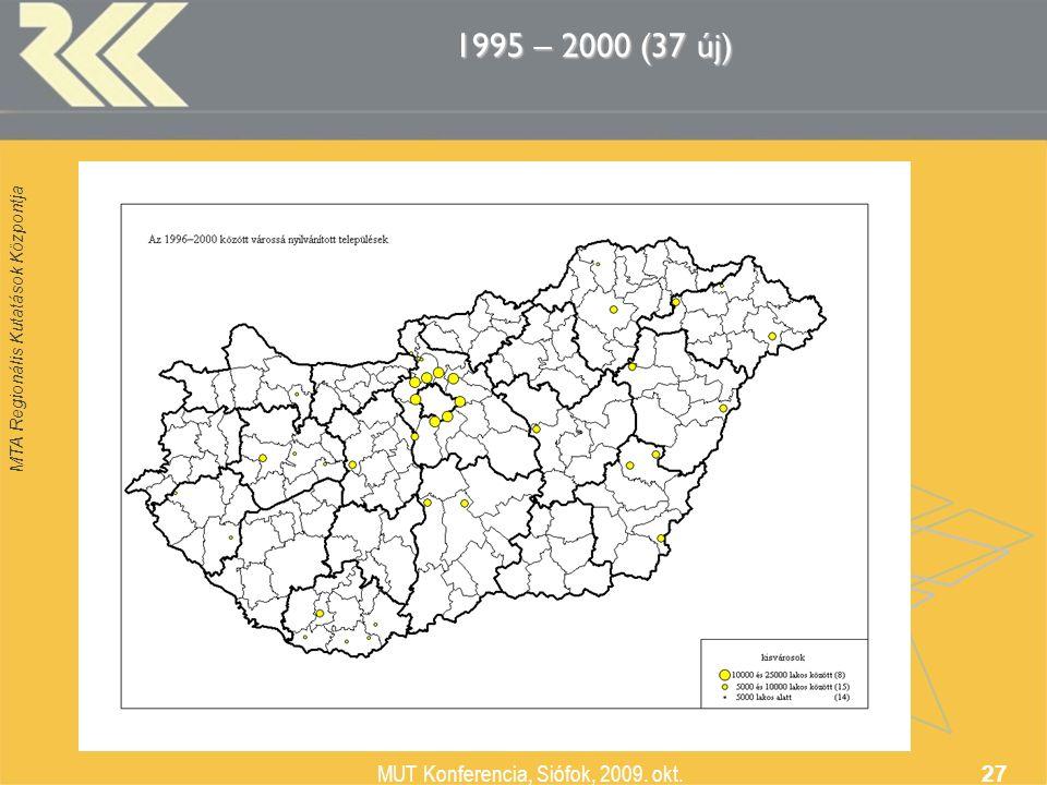MTA Regionális Kutatások Központja MUT Konferencia, Siófok, 2009. okt. 27 1995 – 2000 (37 új)