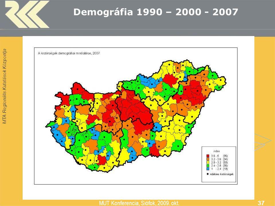 MTA Regionális Kutatások Központja MUT Konferencia, Siófok, 2009. okt. 37 Demográfia 1990 – 2000 - 2007