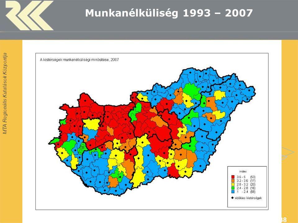 MTA Regionális Kutatások Központja MUT Konferencia, Siófok, 2009. okt. 38 Munkanélküliség 1993 – 2007