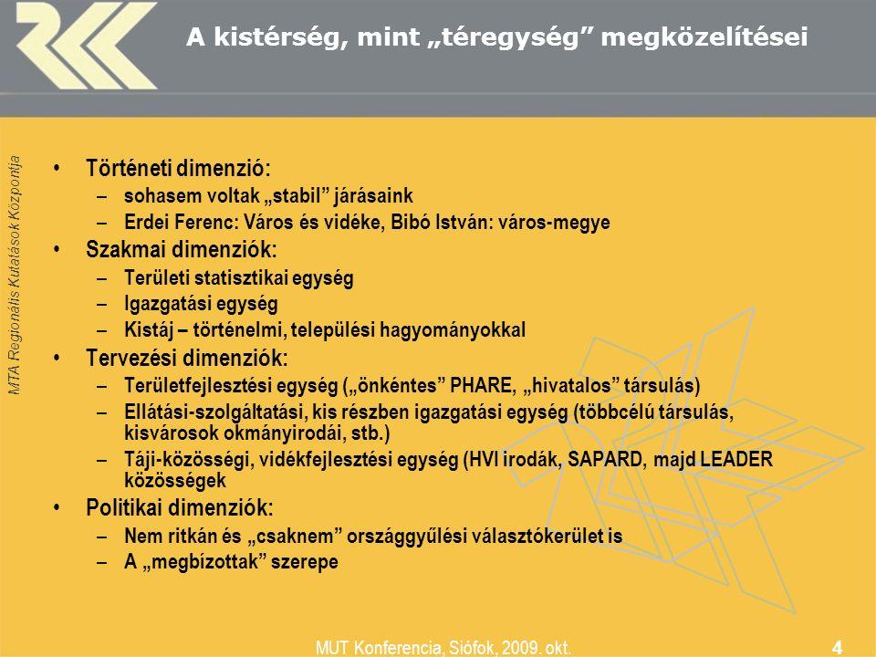 """MTA Regionális Kutatások Központja MUT Konferencia, Siófok, 2009. okt. 4 A kistérség, mint """"téregység"""" megközelítései Történeti dimenzió: – sohasem vo"""