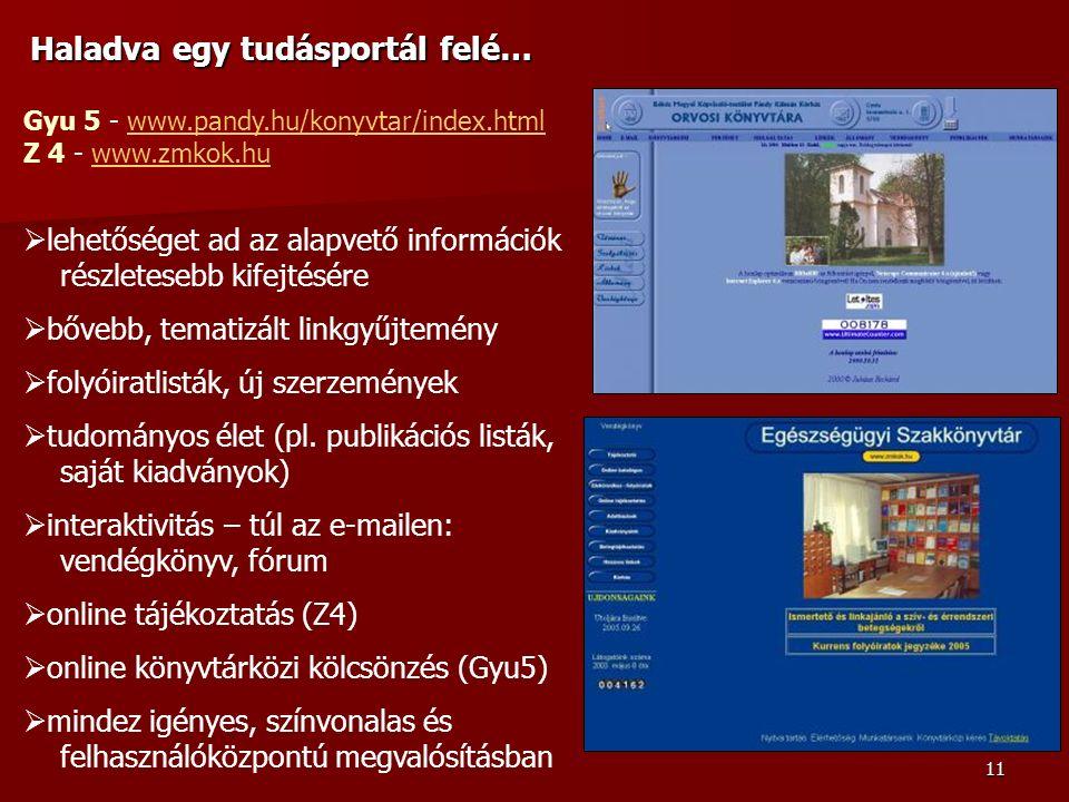 11 Haladva egy tudásportál felé… Gyu 5 - www.pandy.hu/konyvtar/index.htmlwww.pandy.hu/konyvtar/index.html Z 4 - www.zmkok.huwww.zmkok.hu  lehetőséget ad az alapvető információk részletesebb kifejtésére  bővebb, tematizált linkgyűjtemény  folyóiratlisták, új szerzemények  tudományos élet (pl.