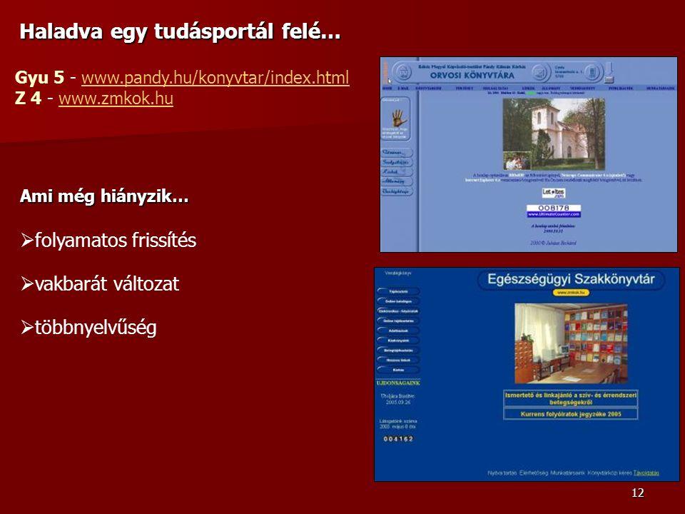 12 Haladva egy tudásportál felé… Gyu 5 - www.pandy.hu/konyvtar/index.htmlwww.pandy.hu/konyvtar/index.html Z 4 - www.zmkok.huwww.zmkok.hu Ami még hiányzik…  folyamatos frissítés  vakbarát változat  többnyelvűség