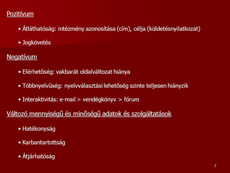 8 Megyei kórházak orvosi könyvtárainak internetes megjelenése D 47 - E 14 kórházi honlapon belül, több oldalnyi inf.