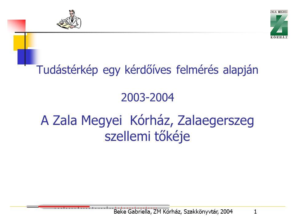Beke Gabriella, ZM Kórház, Szakkönyvtár, 2004 1 Tudástérkép egy kérdőíves felmérés alapján 2003-2004 A Zala Megyei Kórház, Zalaegerszeg szellemi tőkéje