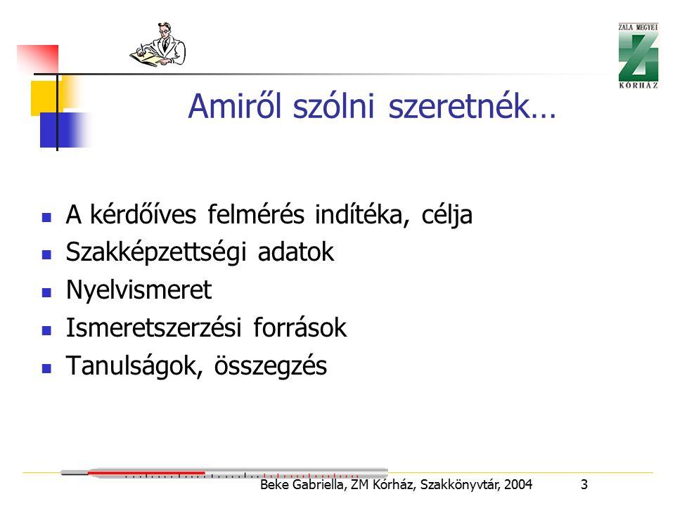 Beke Gabriella, ZM Kórház, Szakkönyvtár, 2004 14 Szakmai önképzés forrása Megjegyzések 5.5 –ször több a megnevezett nyomtatott dokumentumok száma.Leggyakrabban használt ny.