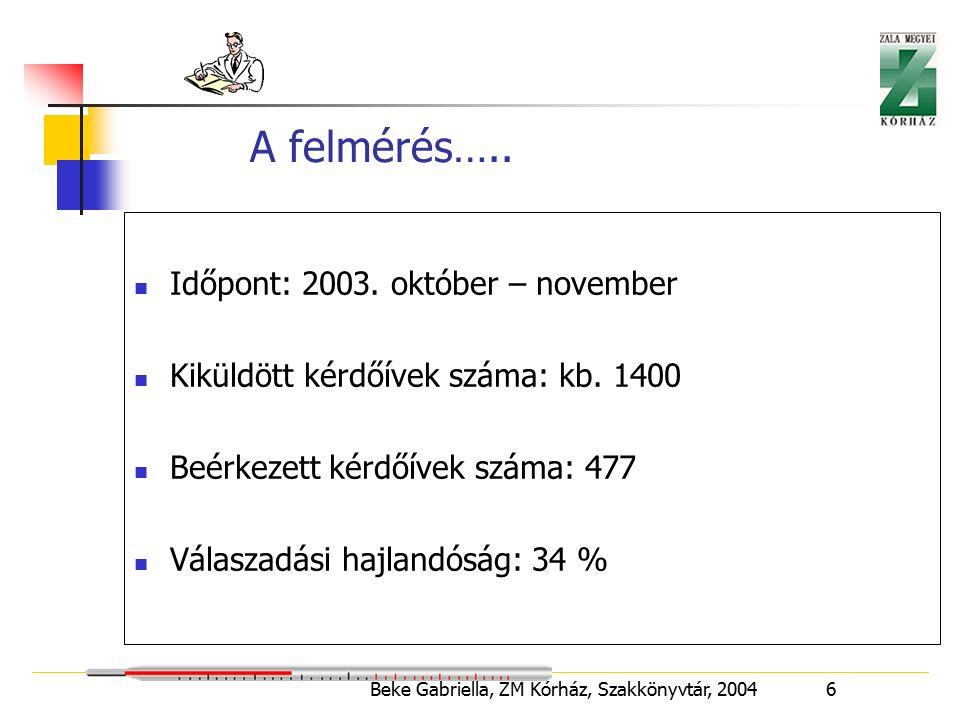 Beke Gabriella, ZM Kórház, Szakkönyvtár, 2004 7 Szakképzettség szerinti megoszlás Ápoló49 % Asszisztens25 % Orvos20 % Gyógytornász5 % Műtős1 % Választ adók száma: 455