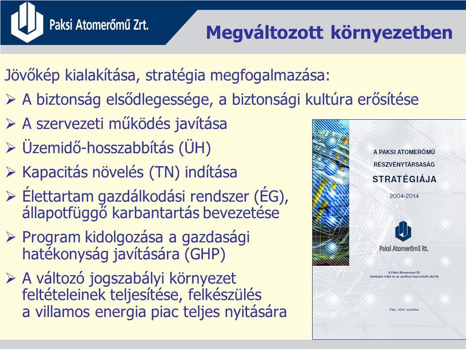 Megváltozott környezetben Jövőkép kialakítása, stratégia megfogalmazása:  A biztonság elsődlegessége, a biztonsági kultúra erősítése  A szervezeti működés javítása  Üzemidő-hosszabbítás (ÜH)  Kapacitás növelés (TN) indítása  Élettartam gazdálkodási rendszer (ÉG), állapotfüggő karbantartás bevezetése  Program kidolgozása a gazdasági hatékonyság javítására (GHP)  A változó jogszabályi környezet feltételeinek teljesítése, felkészülés a villamos energia piac teljes nyitására