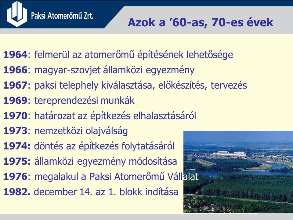 Azok a '60-as, 70-es évek 1964: felmerül az atomerőmű építésének lehetősége 1966: magyar-szovjet államközi egyezmény 1967: paksi telephely kiválasztása, előkészítés, tervezés 1969: tereprendezési munkák 1970: határozat az építkezés elhalasztásáról 1973: nemzetközi olajválság 1974: döntés az építkezés folytatásáról 1975: államközi egyezmény módosítása 1976: megalakul a Paksi Atomerőmű Vállalat 1982.