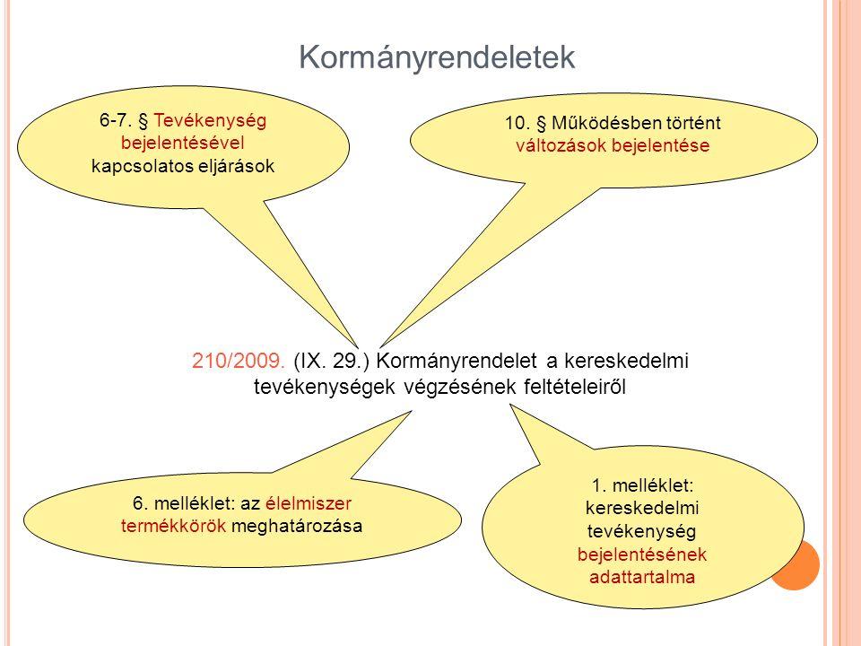 Kormányrendeletek 210/2009. (IX. 29.) Kormányrendelet a kereskedelmi tevékenységek végzésének feltételeiről 6-7. § Tevékenység bejelentésével kapcsola