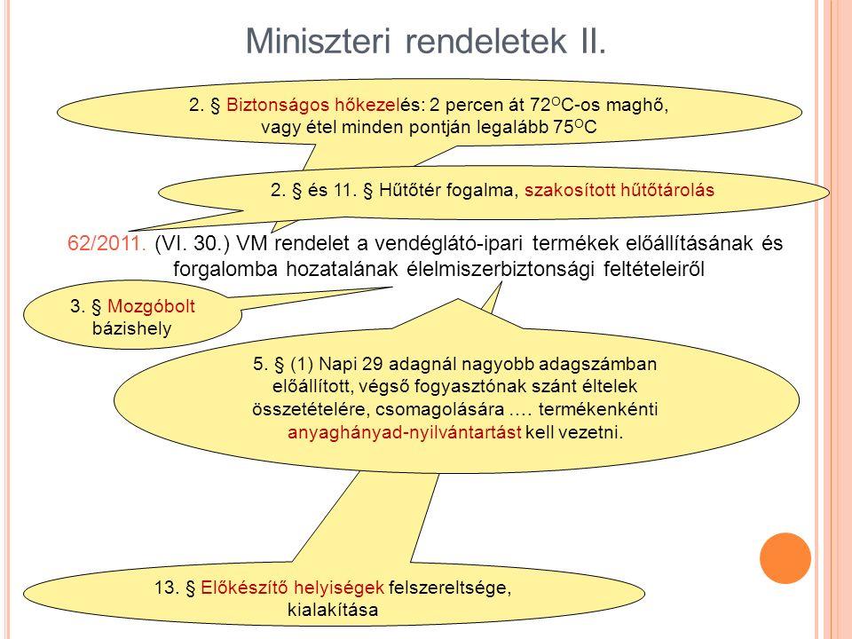 13. § Előkészítő helyiségek felszereltsége, kialakítása Miniszteri rendeletek II. 62/2011. (VI. 30.) VM rendelet a vendéglátó-ipari termékek előállítá