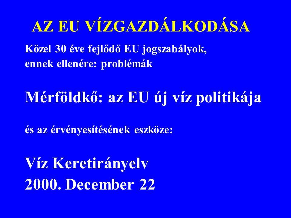 A VKI nemzeti jogrendszerbe való átültetését 2003.december 22-ig kellett elvégezni a VKI előírása szerint !