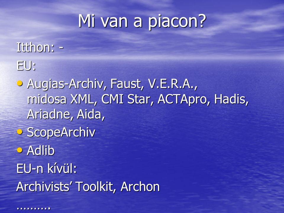 Mi van a piacon? Itthon: - EU: Augias-Archiv, Faust, V.E.R.A., midosa XML, CMI Star, ACTApro, Hadis, Ariadne, Aida, Augias-Archiv, Faust, V.E.R.A., mi