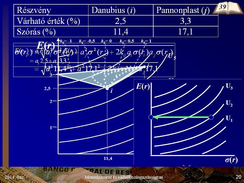2014. ősz20Menedzsment és vállalkozásgazdaságtan k ij = -0,5 k ij = 0 k ij = 0,5 1 3 2 2,5 11,4 i 3,3 17,1 j k ij = 1k ij = -1 E(r)E(r) σ(r)σ(r) U 3 U