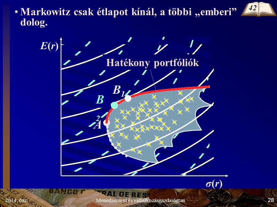 """2014. ősz28Menedzsment és vállalkozásgazdaságtan σ(r)σ(r) E(r)E(r) A B1B1 B2B2 Markowitz csak étlapot kínál, a többi """"emberi"""" dolog. Hatékony portfóli"""