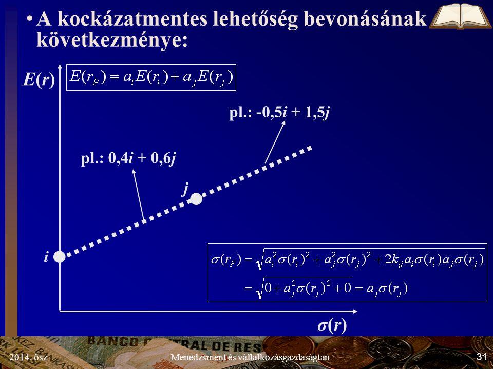 2014. ősz31Menedzsment és vállalkozásgazdaságtan A kockázatmentes lehetőség bevonásának következménye: σ(r)σ(r) E(r)E(r) i j pl.: 0,4i + 0,6j pl.: -0,